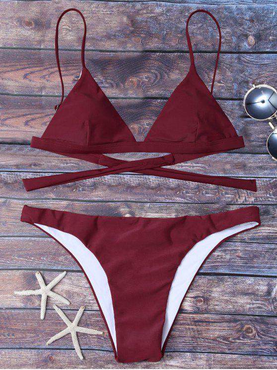 Bikini noeud au dos taille haute - Rouge vineux  2XL