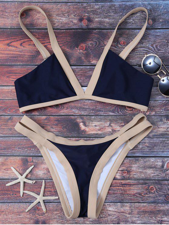 affordable Cut Out Color Block Bikini Bathing Suit - PURPLISH BLUE M
