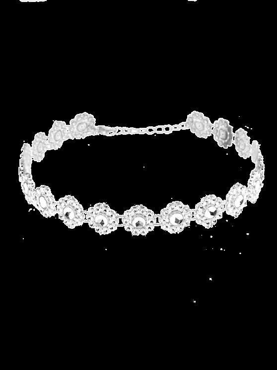 womens Flower Rhinestone Alloy Necklace - SILVER