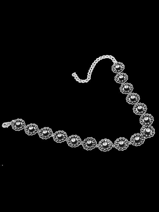 Colar floral Alloy Rhinestone - Preto