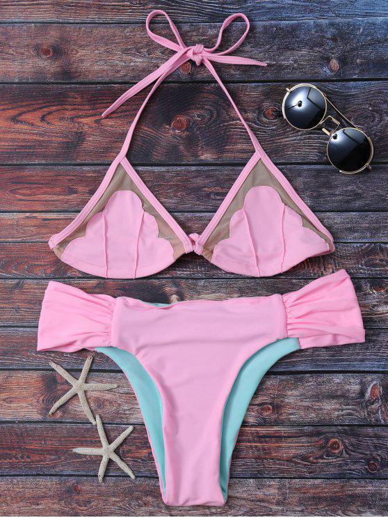 womens Mesh Panel Color Block Ruched Bikini - PINK S