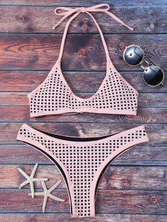 Square Laser Cut Bralette Bikini - Light Apricot Pink L