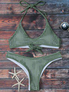 Square Laser Cut Bralette Bikini - Army Green L