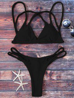 Geflochtener Softer Polster String Bikini - Schwarz 2xl