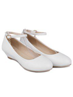 Faux Leather Ankle Strap Wedge Shoes - White 39