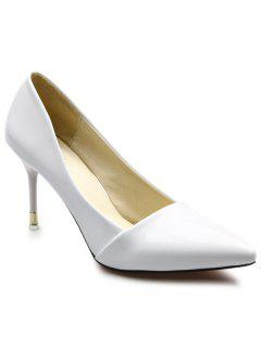 Stiletto Heels Patent Leather Pumps - White 39