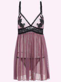 See-Through Lace High Waist Babydoll Sleepwear - Purple M