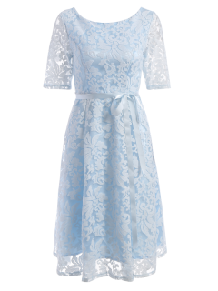 Embroidered Lace Fit And Flare Prom Dress - Light Blue S