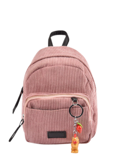 Corduroy Backpack With Pendant - Pink