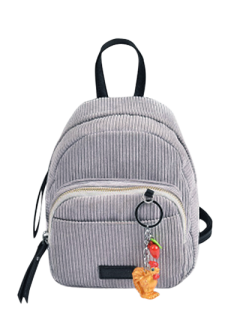 Corduroy Backpack With Pendant - Light Gray
