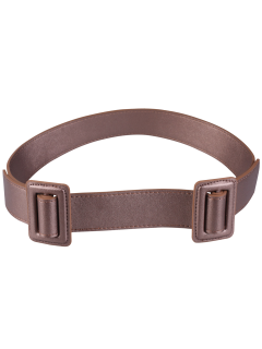 Plain Double Buckle Coat Belt - Light Brown