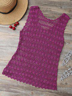 Golden Thread Crochet Tank Cover Up - Purplish Red