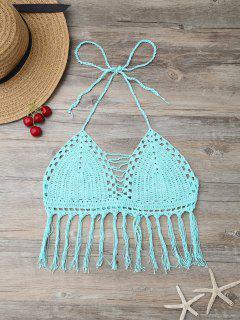 Fringes Tied Crochet Swim Top - Lake Blue