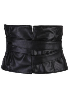 Adjustable Strappy PU Leather Corset Belt - Black