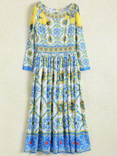 Una Línea De Impresión Retro Del Vestido Maxi - Floral S