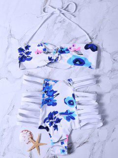 Printed High Waisted Strappy Bikini Set - White M