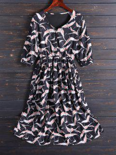 Printed V Neck Chiffon Midi Dress - Black Xl