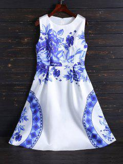 Vintage Impresión Vestido Longitud De La Rodilla - Blanco 2xl
