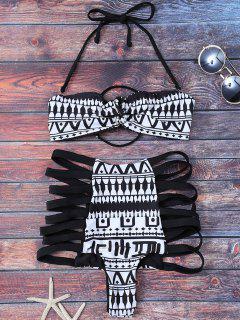 Estampado Tribal De Talle Alto Enjaulado Set Bikini - Negro S