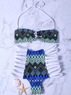 Ensemble Bikini à Bretelle Haute Taille Imprimé Tribal - Blanc S