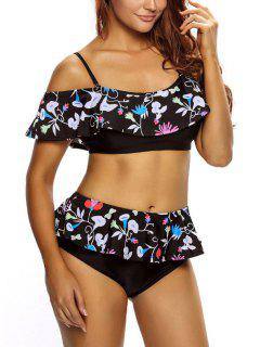 Ruffles High Waisted Bikini Set - Black Xl