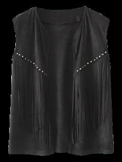Fringe Faux Suede Open Front Waistcoat - Black S