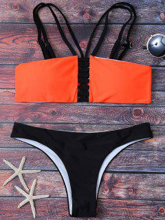Strappy Padded Bandeau Bikini - Black And Orange S