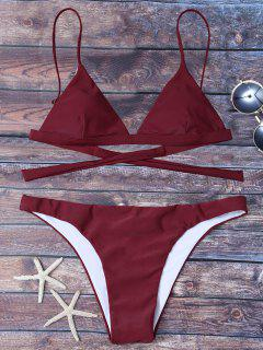 High Leg Back Tie Bikini Set - Wine Red 2xl