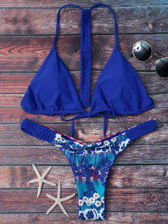 Padded Printed Braided Back Bikini Set - Blue S