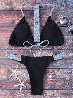 String Knitted Bikini Set - Black L