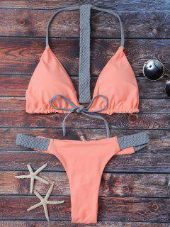 Ensemble De Bikini Tricoté Avec Cordon - Orange Rose S