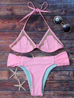 Mesh Panel Color Block Ruched Bikini - Pink S