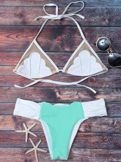 Mesh Panel Color Block Ruched Bikini - Blue Green L