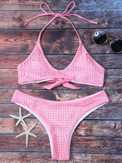Square Laser Cut Bralette Bikini - Pink S