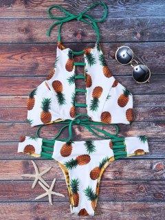 Ladder Cutout Pineapple Print Reversible Bikini - White S