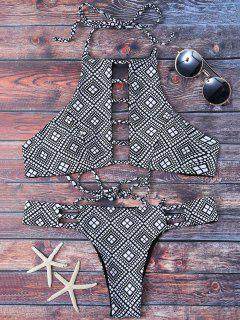 Ladder Cutout Geometric Pattern Bikini - Black S
