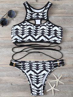 Geometry Print High Neck Strappy Bikini Set - Black S