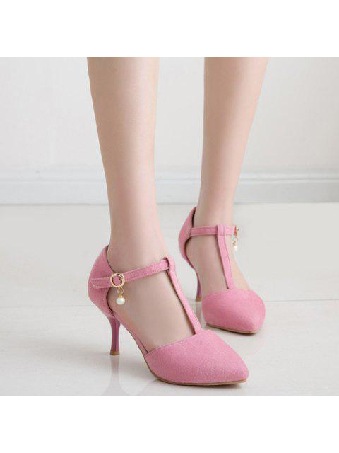 hot Faux Pearl T Strap Suede Pumps - PINK 37 Mobile