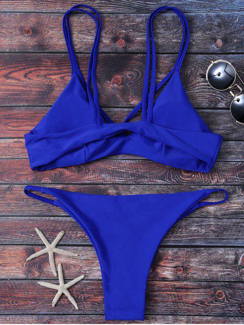 womens High Leg Strappy Bikini Set - BLUE S Mobile