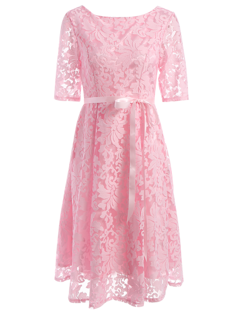 womens Embroidered Lace Knee Length Swing Dress - PINK 2XL Mobile