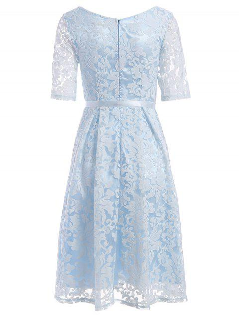 new Embroidered Lace Knee Length Swing Dress - LIGHT BLUE L Mobile