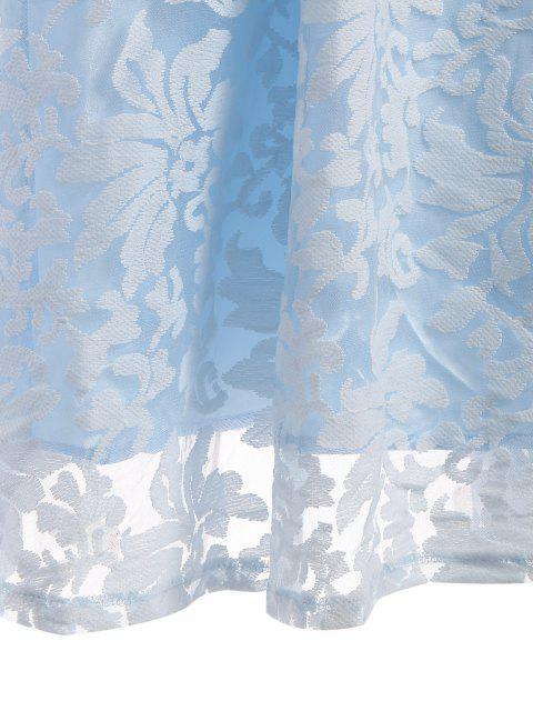 Robe en dentelle brodée Ligne A - Bleu clair M Mobile