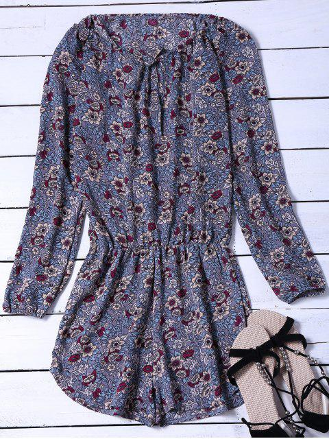 unique Long Sleeved Floral Print Playsuit - BLUE GRAY M Mobile