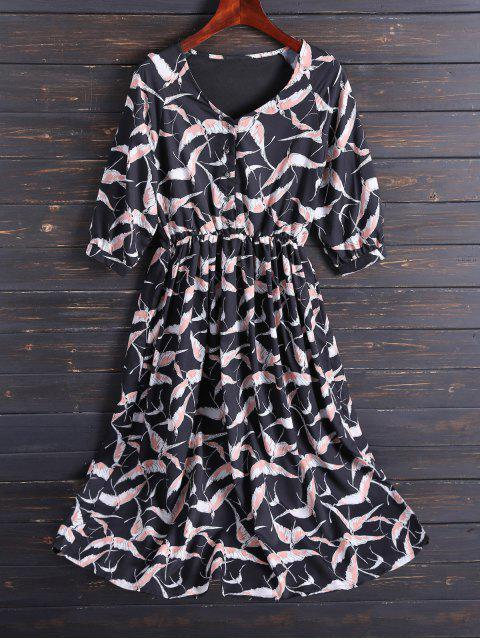 lady Printed V Neck Chiffon Midi Dress - BLACK XL Mobile