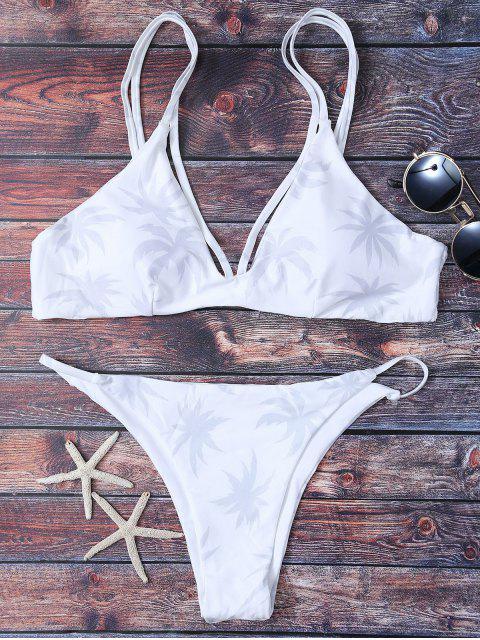 best High Leg Palmtree Print Bikini Set - WHITE S Mobile