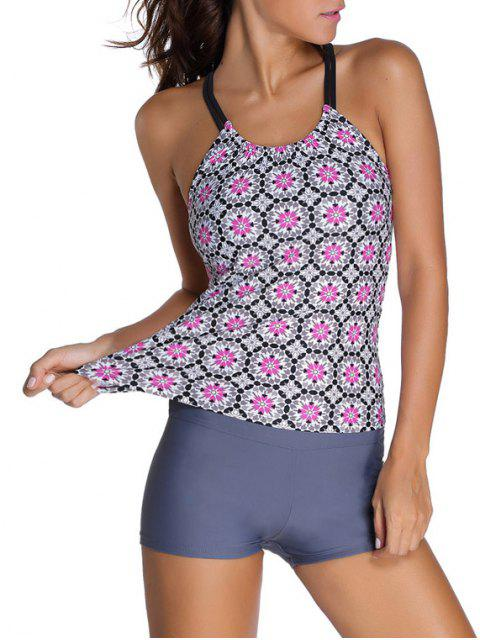 sale Padded Printed Tankini with Boxers - GRAY L Mobile