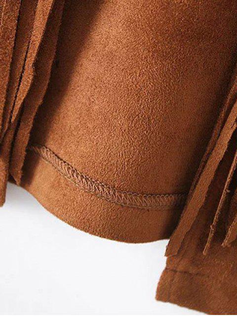 latest Fringe Faux Suede Open Front Waistcoat - BLACK S Mobile