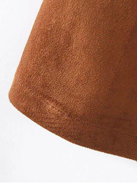 shop Fringe Faux Suede Open Front Waistcoat - BLACK L Mobile