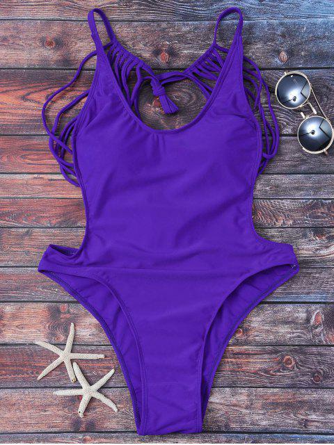 maillot de bain  à bretelles avec string - Pourpre S Mobile
