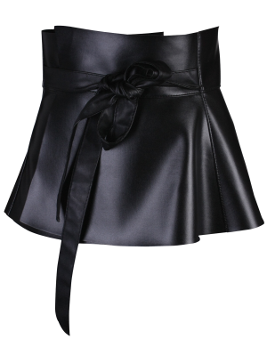 Peplum Belt Bowknot Long Tail PU Cuir - Noir